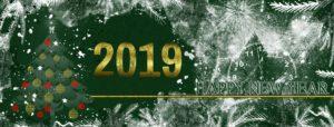 un sapin avec une inscription dorée avec l'année 2019 indiquée, sur un fond vert avec du blanc rappelant la neige